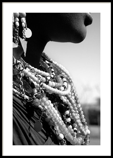 Beaded Jewelry Poster in the group Prints / Black & white at Desenio AB (11469)