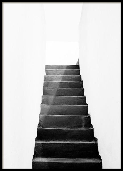 Black and White Stairs Poster in the group Prints / Sizes / 50x70cm | 20x28 at Desenio AB (11484)