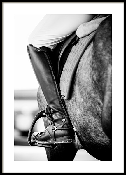Horse Riding Poster in the group Prints / Black & white at Desenio AB (11486)