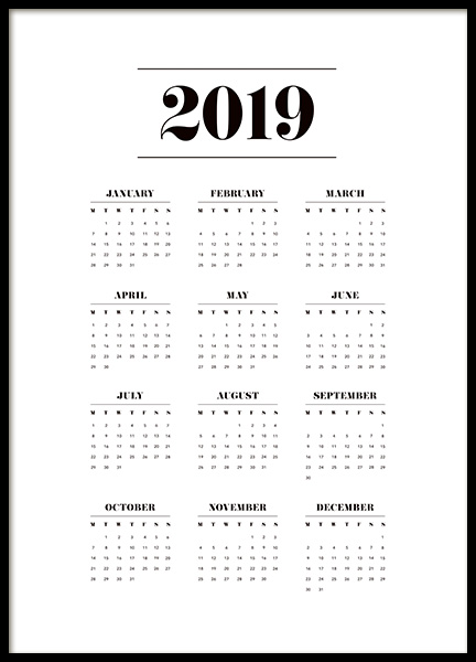 Calendar 2019 Poster in the group Prints / Text posters at Desenio AB (11513)