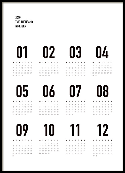 Calendar 2019 B&W Poster in the group Prints / Typography & quotes at Desenio AB (11514)