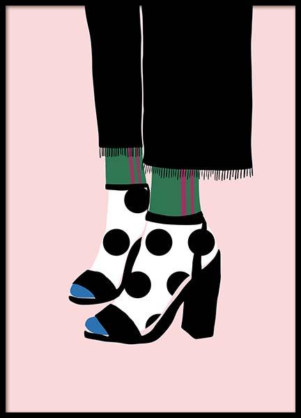 Polka Dot Socks in Heels Poster in the group Prints / Illustrations at Desenio AB (11595)