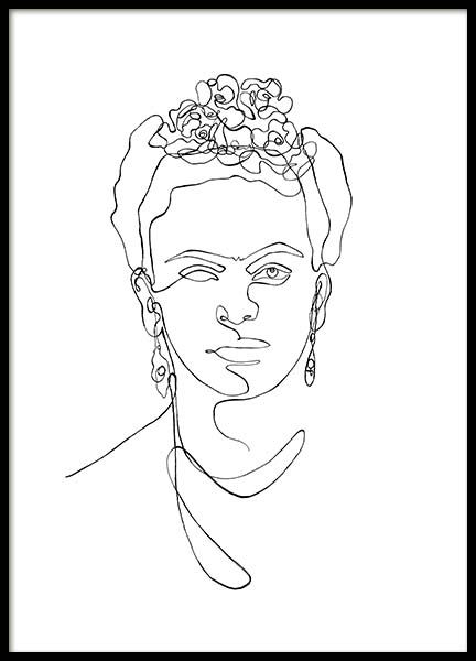 Frida Kahlo Line Art Poster in the group Prints / Illustrations at Desenio AB (11764)