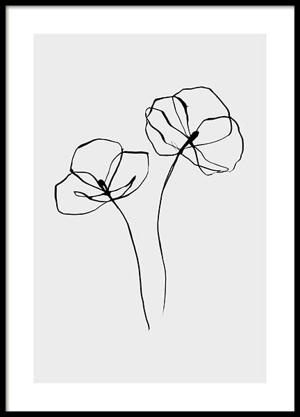 Line Flower No2 Poster in the group Prints / Black & white at Desenio AB (11766)
