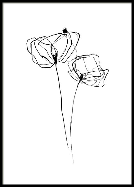 Line Flower No3 Poster in the group Prints / Black & white at Desenio AB (11767)