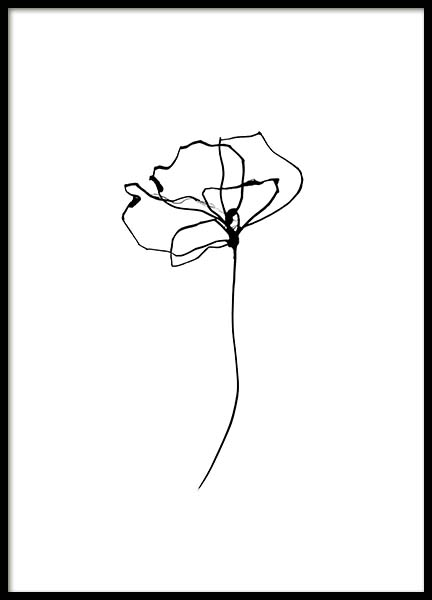 Line Flower No4 Poster in the group Prints / Black & white at Desenio AB (11768)