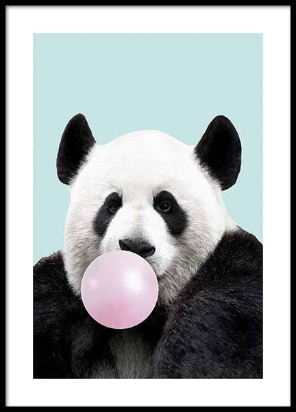 Bubblegum Panda Poster in the group Prints / Kids wall art at Desenio AB (11770)