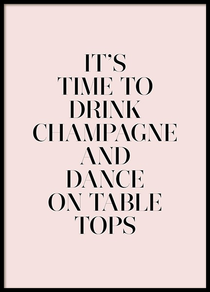 Champagne and Dance Poster in the group Prints / Text posters at Desenio AB (11909)