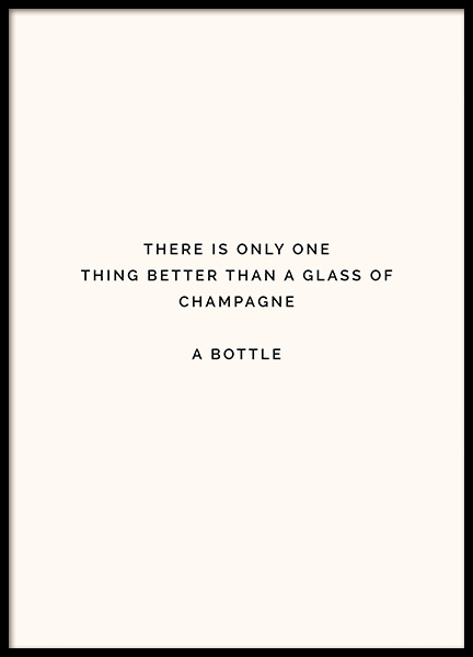 Champagne Bottle Poster in the group Prints / Text posters at Desenio AB (11910)