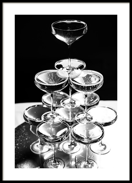Champagne Tower Poster in the group Prints / Black & white at Desenio AB (11914)