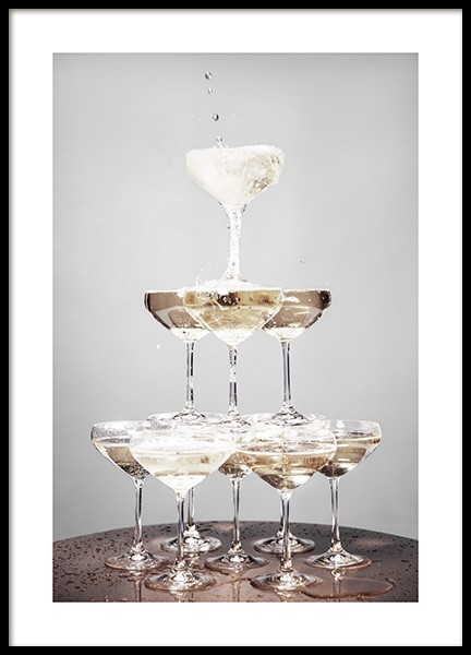 Champagne Pyramid Poster in the group Prints / Kitchen at Desenio AB (11917)