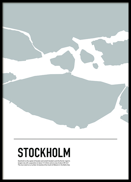 Graphic Map Stockholm Poster in the group Prints / Maps & cities /  /  at Desenio AB (11931)