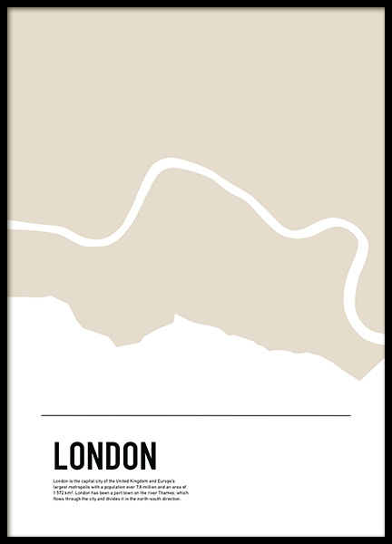 Graphic Map London Poster in the group Prints / Maps & cities at Desenio AB (11932)