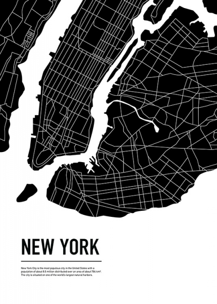 Graphic City Map New York Poster in the group Prints / Maps & cities at Desenio AB (11937)