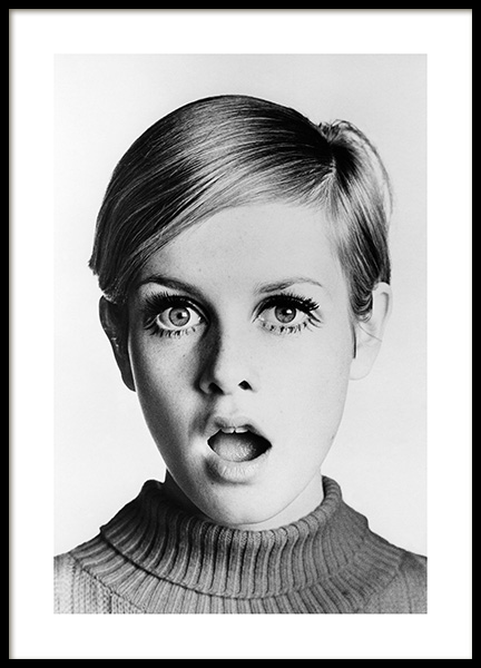 Twiggy Poster in the group Prints / Black & white at Desenio AB (11964)