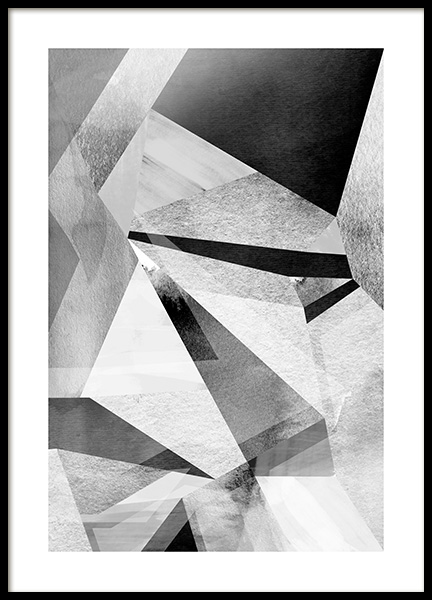 Gray Prisms Poster in the group Prints / Black & white at Desenio AB (11991)