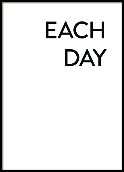 Each Day I Love You No1 Poster in the group Prints / Typography & quotes at Desenio AB (12008)