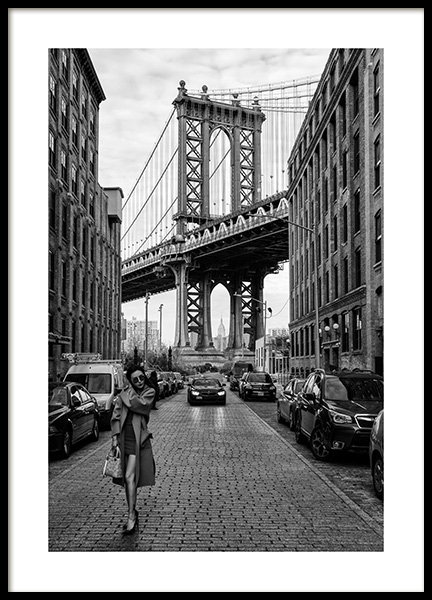 Woman by Manhattan Bridge Poster in the group Prints / Black & white at Desenio AB (12030)