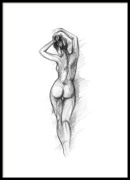 Posing Sketch Poster in the group Prints / Black & white at Desenio AB (12132)
