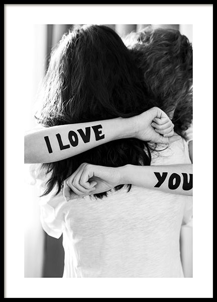 The Hug – I Love You Ink Poster in the group Prints / Black & white at Desenio AB (12152)