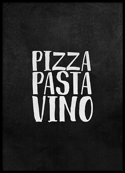 Pizza Pasta Vino Poster in the group Prints / Text posters at Desenio AB (12247)