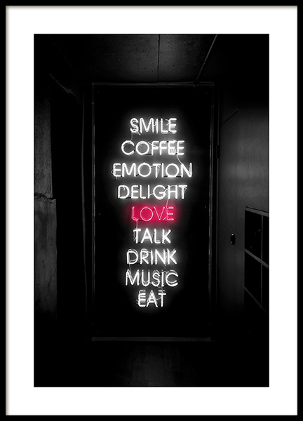 Smile Love Eat Neon Poster in the group Prints / Text posters at Desenio AB (12441)