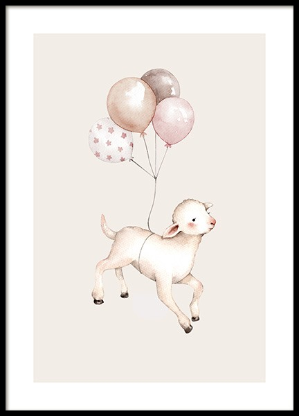 Flying Lamb Poster in the group Prints / Kids posters at Desenio AB (12463)