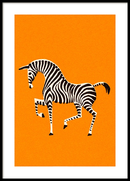 Vintage Zebra Poster in the group Prints / Animals / Wild animals / Giraffes at Desenio AB (12470)