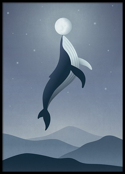 Whale Moon Poster in the group Prints / Kids at Desenio AB (12471)