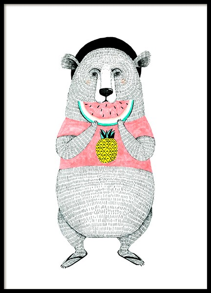 Bear with Melon Poster in the group Prints / Kids posters / Animal illustrations at Desenio AB (12473)