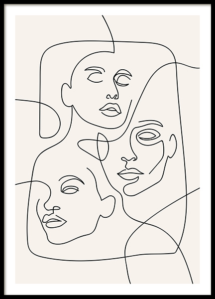The Three Faces Line Art Poster in the group Prints / Illustrations at Desenio AB (12506)