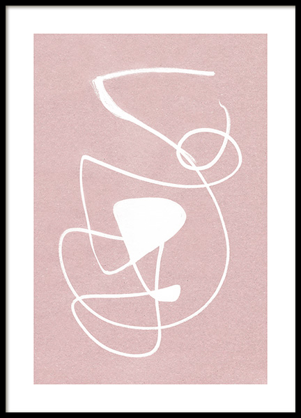 White Ink Strokes Poster in the group Prints / Art prints / Abstract art at Desenio AB (12511)