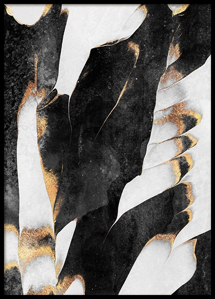 Black And Gold Veins No1 Poster in the group Prints / Art prints / Abstract art at Desenio AB (12549)