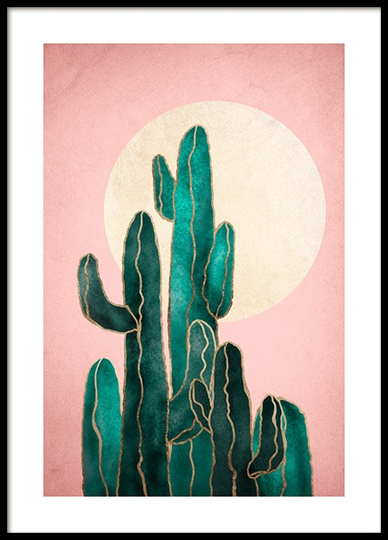 Pink Sky Cactus Poster in the group Prints / Art prints at Desenio AB (12562)