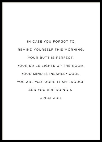 Your Butt is Perfect Poster in the group Prints / Text posters at Desenio AB (12609)