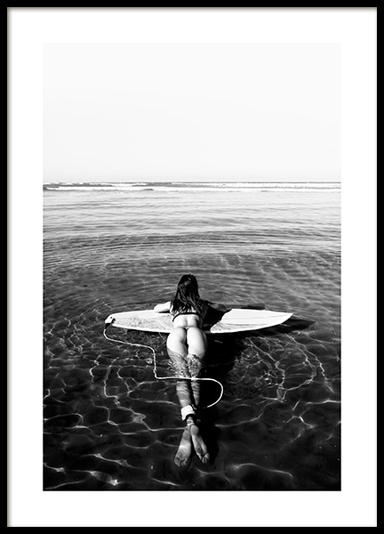 Floating on Surfboard Poster in the group Prints / Black & white at Desenio AB (12651)