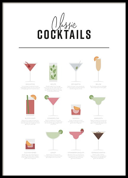 Classic Cocktail Guide Poster in the group Prints / Kitchen at Desenio AB (12668)