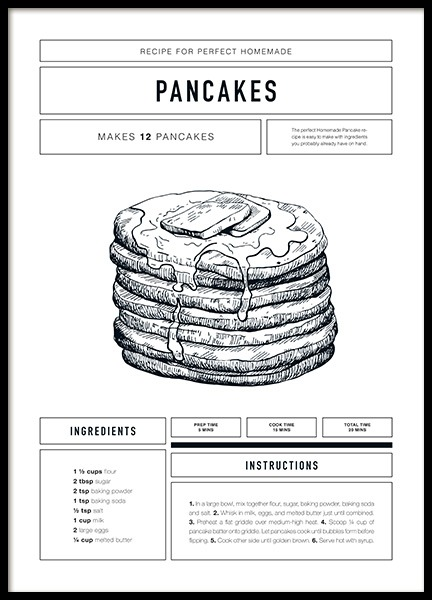 Pancake Recipe Poster in the group Prints / Kitchen at Desenio AB (12671)