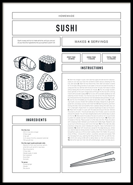 Sushi Recipe Poster in the group Prints / Text posters at Desenio AB (12672)