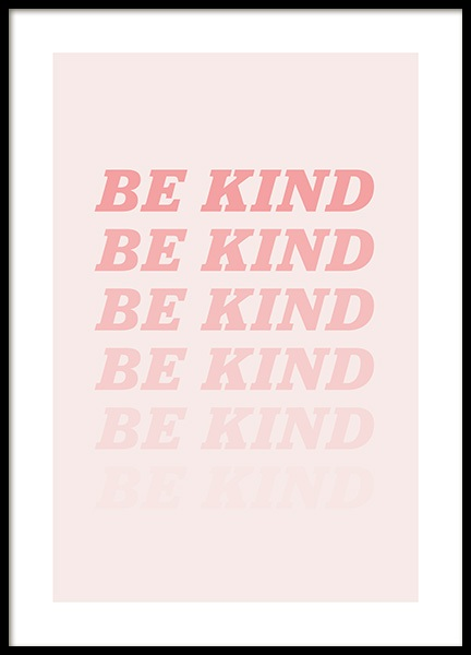 Be Kind Pink Poster in the group Prints / Text posters at Desenio AB (12679)