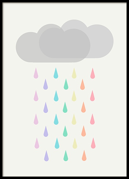 Raining Rainbows Poster in the group Prints / Kids at Desenio AB (12686)