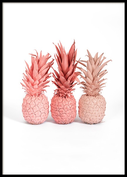 Pink Pineapples Poster in the group Prints / Kitchen at Desenio AB (12704)