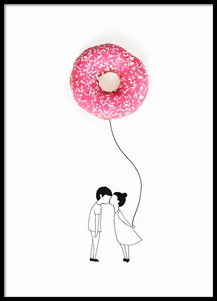 Donut Balloon Poster in the group Prints / Kids at Desenio AB (12718)