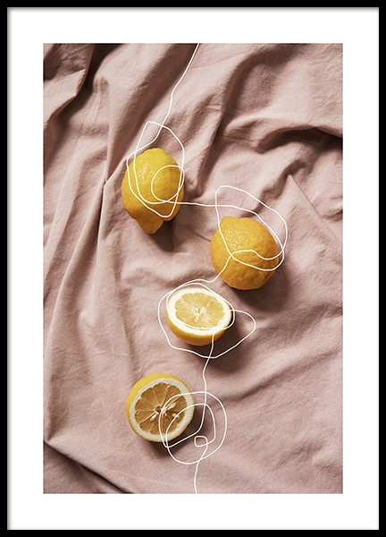 Lemons on Linen Poster in the group Prints / Kitchen at Desenio AB (12814)