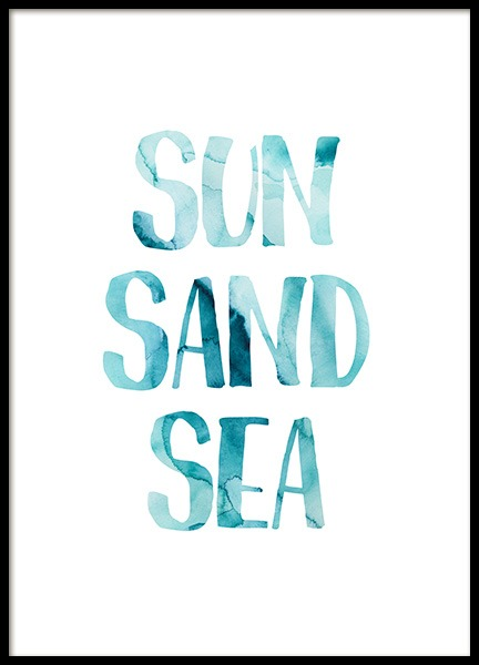 Sun Sand Sea Poster in the group Prints / Text posters at Desenio AB (12834)