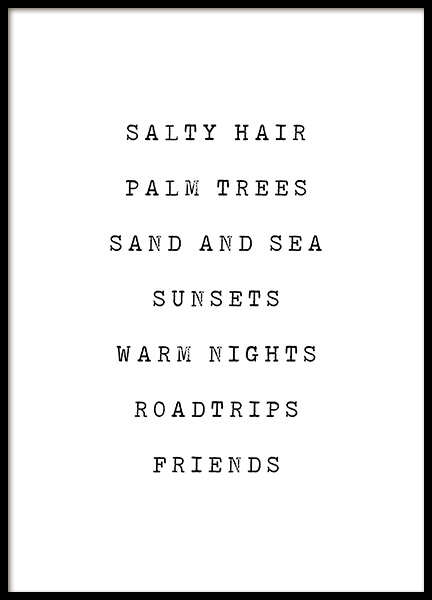 Salty Hair Poster in the group Prints / Text posters at Desenio AB (12840)