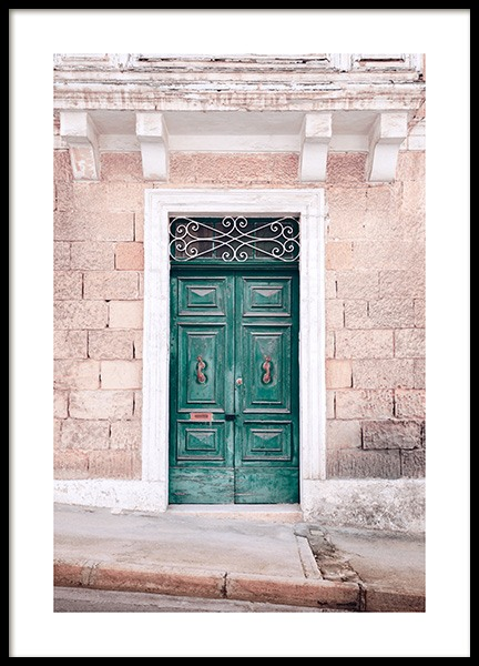 Green Wooden Door Poster in the group Prints / Photographs / Architecture at Desenio AB (12844)
