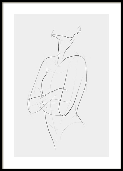 Sketch Lines No1 Poster in the group Prints / Black & white at Desenio AB (12888)