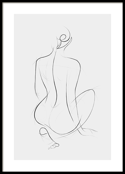 Sketch Lines No2 Poster in the group Prints / Black & white at Desenio AB (12889)