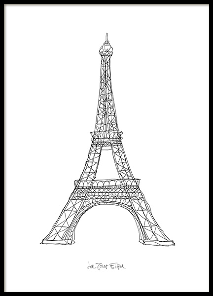 La Tour Eiffel Poster in the group Prints / Black & white at Desenio AB (12920)